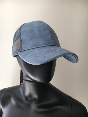 New Denim Colored Faux Leather Trucker Hat for Sale in Fort Washington, MD