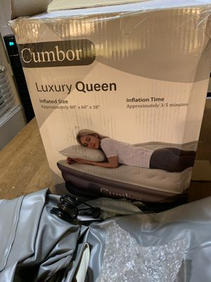 Cumbor Queen Air Mattress with Built-in Pump, Luxury Queen Size Inflatable Airbed with Air Coil Technology - Elevated Raised Double High Air Mattress for Sale in Jurupa Valley, CA