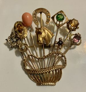 Vintage 14K Gold, Diamond, Seed Pearls & Gemstone Stick Pin Brooch for Sale in Round Rock, TX