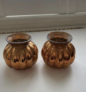 2 orange mercury glass candle holders / small pots for Sale in Fresno, CA