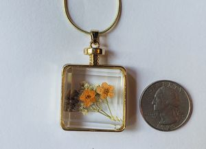 Jewelry necklace autumn fall dried flower under glass gold tone with chain for Sale in Worcester, MA