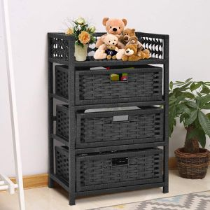 3 Drawers Wicker Baskets Storage Chest Rack for Sale in Lake Elsinore, CA