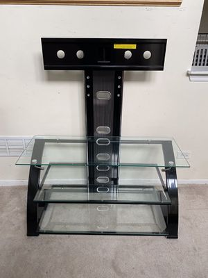 """3 Level Glass/Metal Black TV Stand without Mount for TVs up to 50"""" for Sale in Romeoville, IL"""