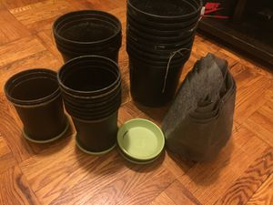 Used, Five 3 Gallon Fabric Pots, 10 Small Pots 9 Saucers & 13 Medium Pots (28 Total) for Sale for sale  Brooklyn, NY