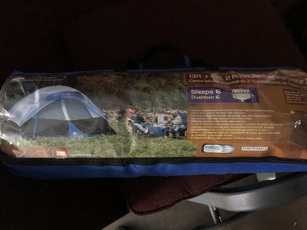 Dome style tent sleeps 6 and camping stove