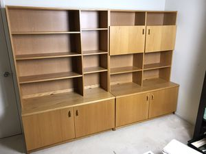 "2 piece wood set cabinet shelf storage 95""W x 68""H x 20""D 300 OBO for Sale in San Ramon, CA"