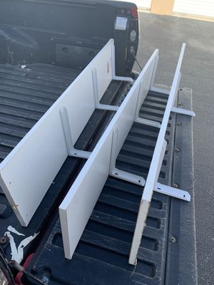 $12 for all three! Three sturdy white 48x12in garage/closet wall shelf shelves! Great for storage! for Sale in West Palm Beach, FL