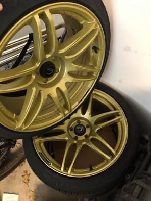Four Cosmis Racing MRII Gold Wheels 18x8.5 - 22-5x100 w/ Toyo Extensa HP 225/40R 18 92V Rims for Sale in Virginia Beach, VA