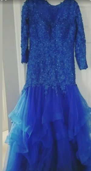 Blue size 16 xl ball gown wedding formal dress with train for Sale in Alexandria, VA