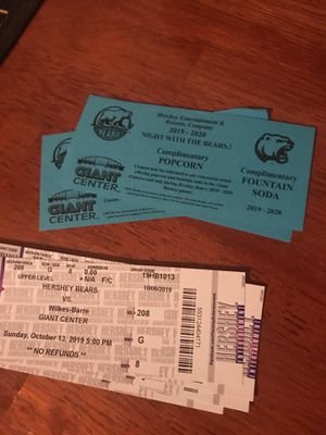 4 Hershey bears tickets/drink and popcorn coupons for Sale in Palmyra, PA