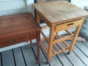 1 antique sewing desk and 1 roll around table for Sale in Dade City, FL