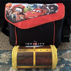 54 Disney Infinity Characters with 2 Carrying Cases for Sale in Disputanta, VA