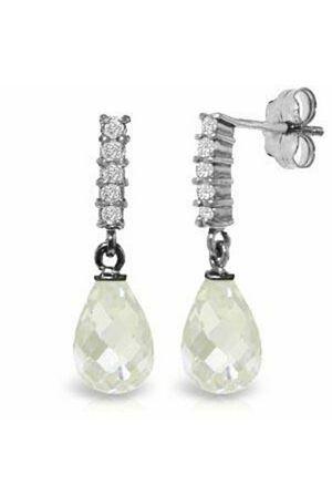 4.65 Carat White Topaz 14K Solid White Gold Dangle Diamond Earrings for Sale in Gorst, WA