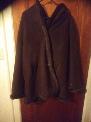 Brown really warm with hoodie jacket for Sale in Detroit, MI