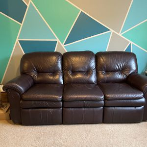 Dark Brown Leather Couch for Sale in Renton, WA
