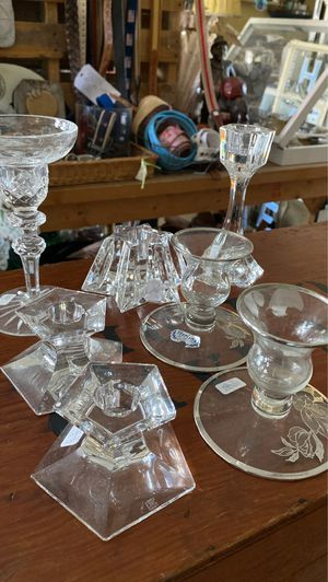 Crystal candleholders, seven as shown in photo, all vintage. To Sterling on crystal one Waterford with chip two shorter ones are stamped, two taller for Sale in West Palm Beach, FL
