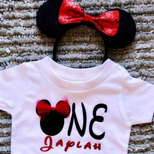 Adorable Minnie Mouse 🐭 1st Birthday Shirt w/ Sequin Bow Headband Ears for Sale in Long Beach, CA