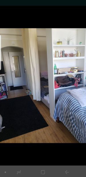 Queen size bed, bookshelves, curtains dividers for Sale in San Francisco, CA