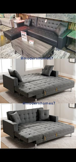 Black leather or Grey linen sectional sofa with chaise launge convertible sleeper couch for Sale in La Palma, CA