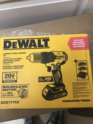 Dewalt Brushless Compact Drill Model DCD777C2 with 2 Batteries , charger and canvas bag. new in the Box for Sale in Hesperia, CA