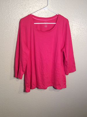 Brand New Rose Fuchsia Women's WHITE STAG TEE Long Sleeve Tee Top T-Shirt Tunic in package - Size 2XL- 1XL for Sale in Austin, TX