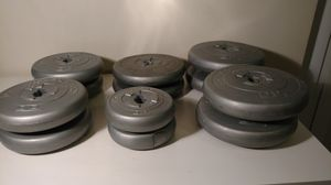 Set of 12 Challenger brand DP grey disc weights for Sale in Columbus, OH