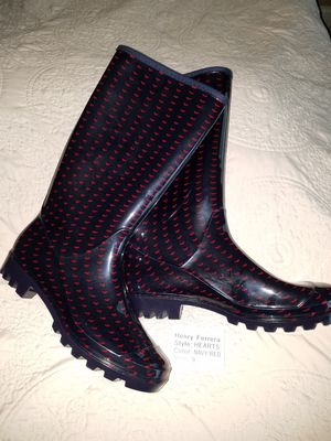 Women's Rubber rain boots navy with hearts for Sale in Holly Springs, NC