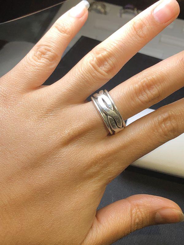 Men's Spinner ring size 10 925 sterling silver