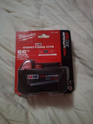 Milwaukee M18 5.0 Battery. Brand new factory sealed 18v batt. for Sale in Redwood City, CA