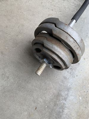 STANDARD CURL BAR WITH 65LBS OF HARDGEAR STANDARD HANDLE PLATES WITH CHROME LOCKING CLAMPS . $40 FIRM for Sale in Gardena, CA