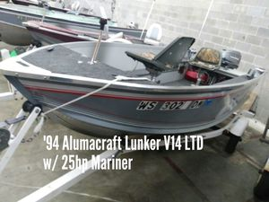 1994 Alumacraft Lunker V14LTD w/25hp Mariner for Sale in Shawano, WI