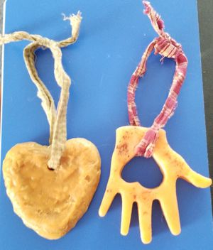 Country primitive heart, used for sale  hand and heart wax decorations approximately 7