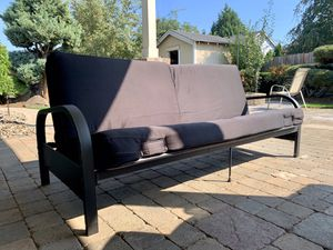 Futon, black couch/foldable bed for Sale in Woodburn, OR