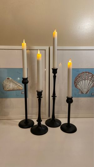 4 POTTERY BARN BRONZE TAPER CANDLE HOLDERS for Sale in Thousand Oaks, CA