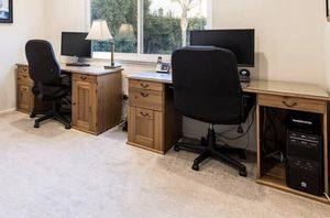 Two desks solid wood with glass top for Sale in Burbank, CA