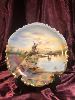 Hand-Painted Dutch Landscape Plate by LS&S Austria, Royal Vienna Style Plate with Blue Beehive Mark, Decorative Wall Art, Gift for Mom for Sale in Lancaster, CA