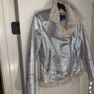 Tommy Hilfiger Leather Metallic Jacket for Sale in Austell, GA