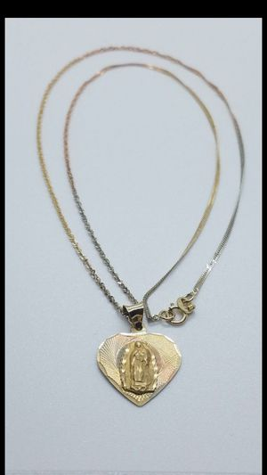 14k gold Virgin Mary with 18 inch chain for Sale in Glendale, AZ