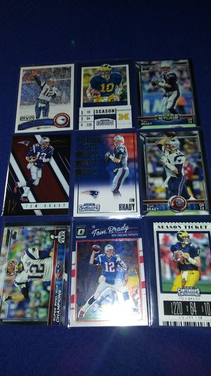 9 different Tom Brady New England Patriots football cards $4 takes all for Sale in Garland, TX