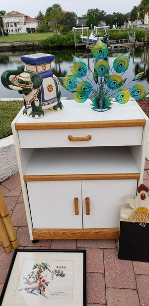 Microwave kitchen cart on wheels for Sale in New Port Richey, FL