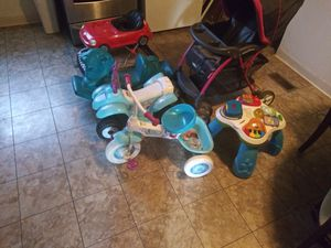 Baby stroller, power wheel, bike, two horses and car for Sale in Columbus, OH