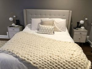 Tufted fabric Bed Frame only - beige, queen- less than a year old for Sale in Westfield, NJ