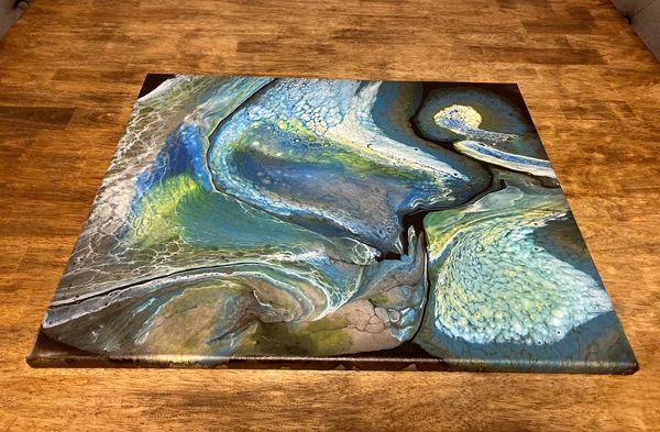 16 x 20 acrylic paint poured canvas.