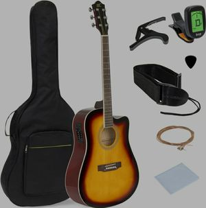 41in Full Size Acoustic Electric Cutaway Guitar Set w/ Capo, E-Tuner, Bag for Sale in Sterling Heights, MI
