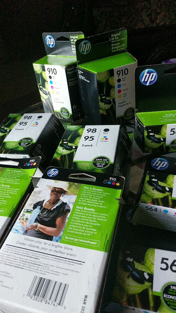 HP ink cartridges 4 color packs and 3 color pack all variety and all expiration yr 2021
