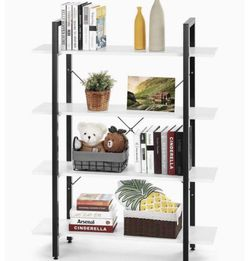 4 Tier Bookcase Solid 130lbs Load Capacity Industrial Bookshelf, Sturdy Bookshelves with Steel Frame, Storage Organizer Home Office Shelf WHITE for Sale in Ontario,  CA
