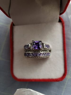 2 pc princess 925 sterling silver white sapphire diamond wedding rings size 9 for Sale in Moreno Valley, CA