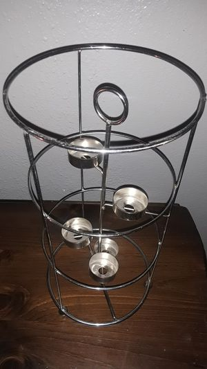 5 piece candle holder . Chrome for Sale in Las Vegas, NV
