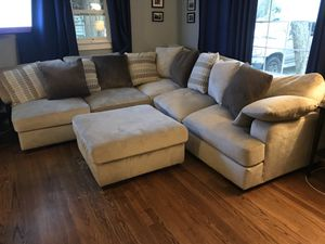 Sectional couch with chaise and ottoman for Sale in Durham, NC
