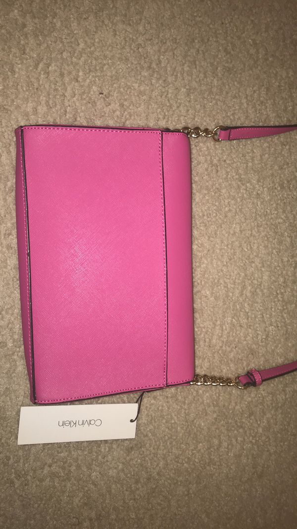 NWT Calvin Klein Crossbody Shoulder Bag Purse Punch Bright Pink Gold Chains